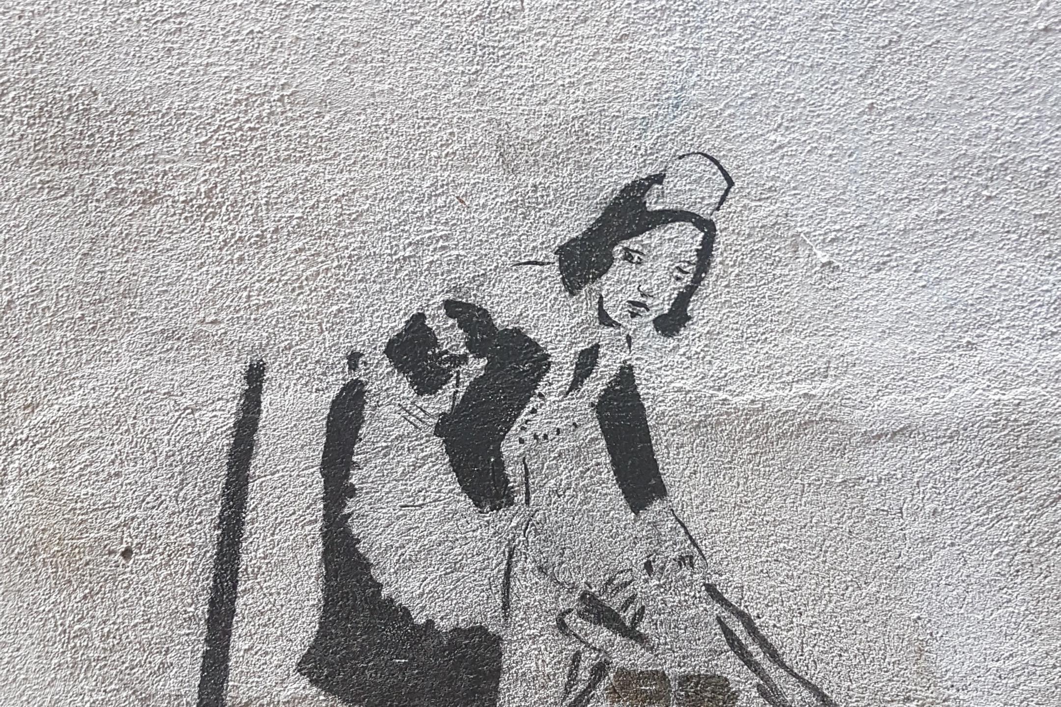 Banksy inspired Housekeeper on Keizergracht