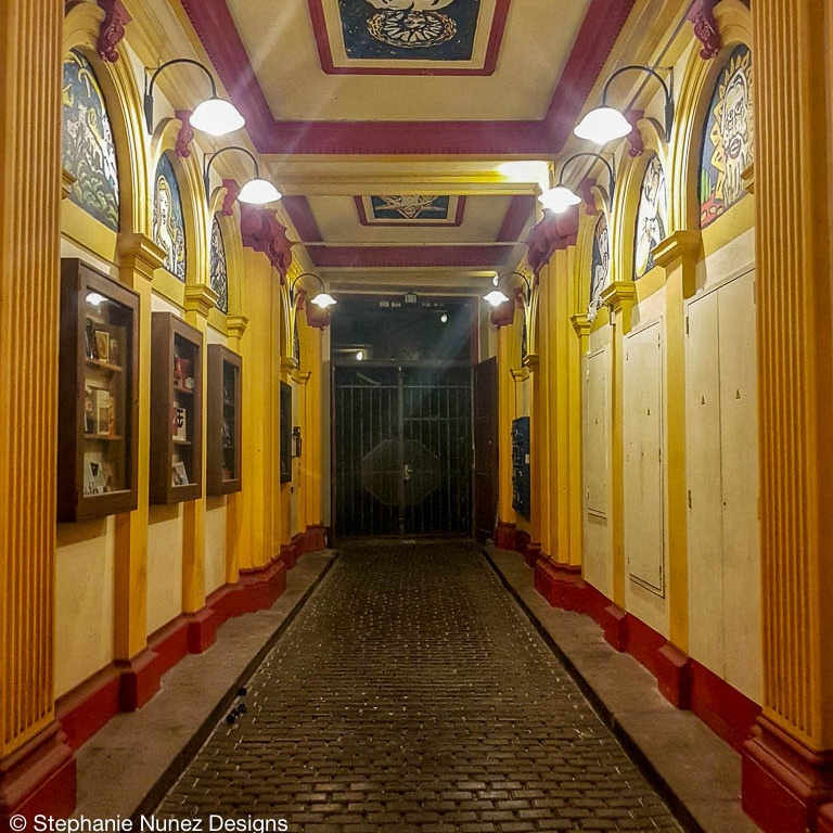 A hallway leading to secrect bookstore.