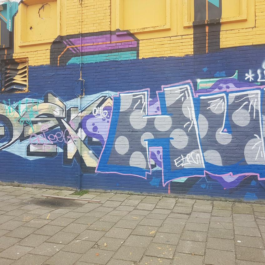 Graffiti tagging on wall