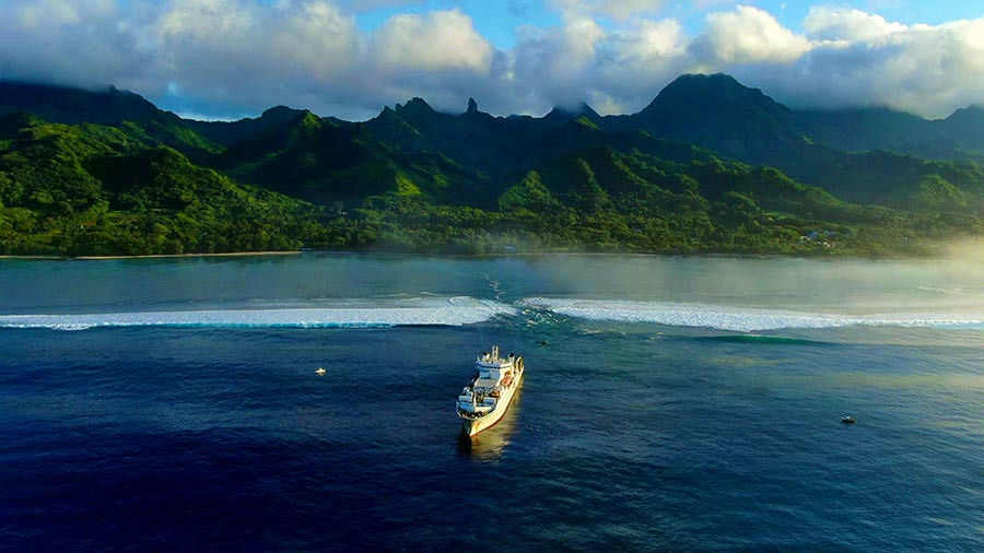 Cable Ship: Cable ship SubCom Reliance pictured off Rutaki passage, Rarotonga, Cook Islands on January 2020 just prior to landing Manatua's Rarotonga branch cable.