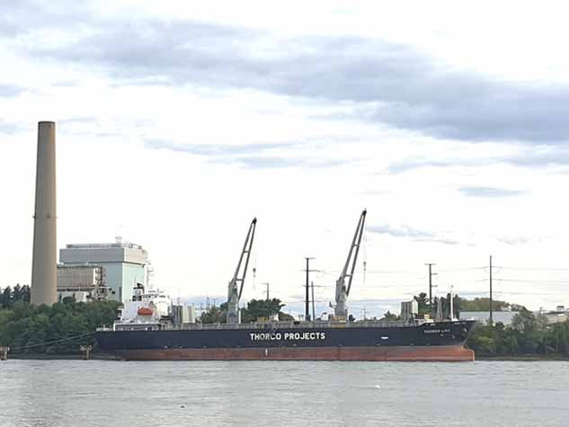 Freighter Thorco Liva in Portsmouth, New Hampshire during cable loading following manufacture