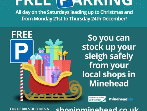 Free Parking for Christmas Shopping in Minehead!