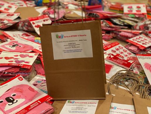Valentine's Day Art Kits at NIH, Johns Hopkins Children's Center & Elderly Homes