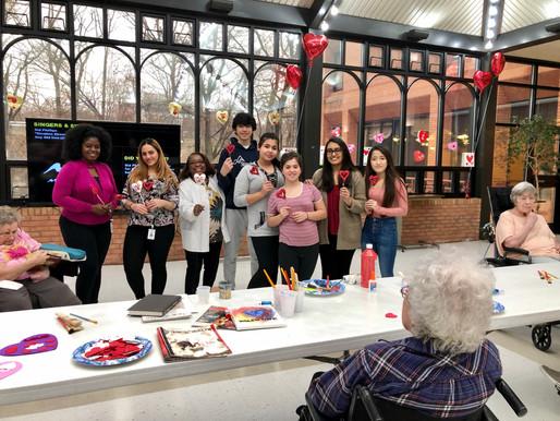 Valentine's Day Themed Crafting- Rockville Nursing Home