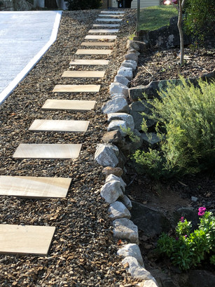 Stepping Stone Path and Retaining Wall