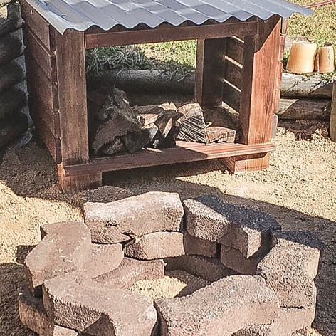 Fire Pit and Log Shed