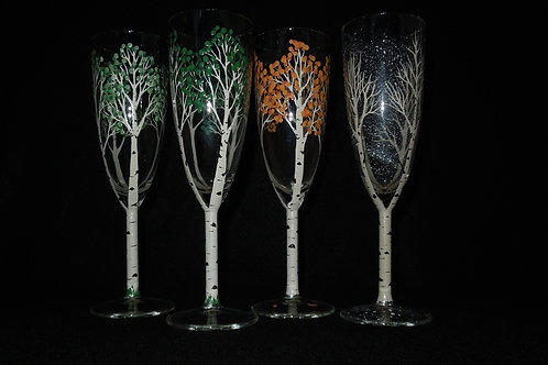 Aspen tree 4 seasons flute glasses