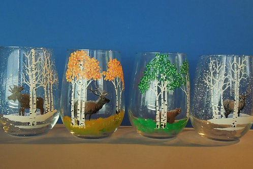 stemless wine glasses with wildlife