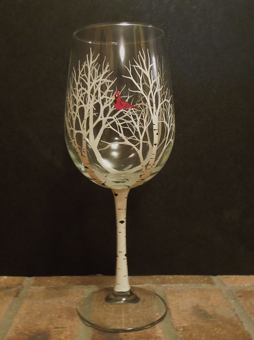 Winter Aspen/Birch Tree Wine Glass with Cardinal