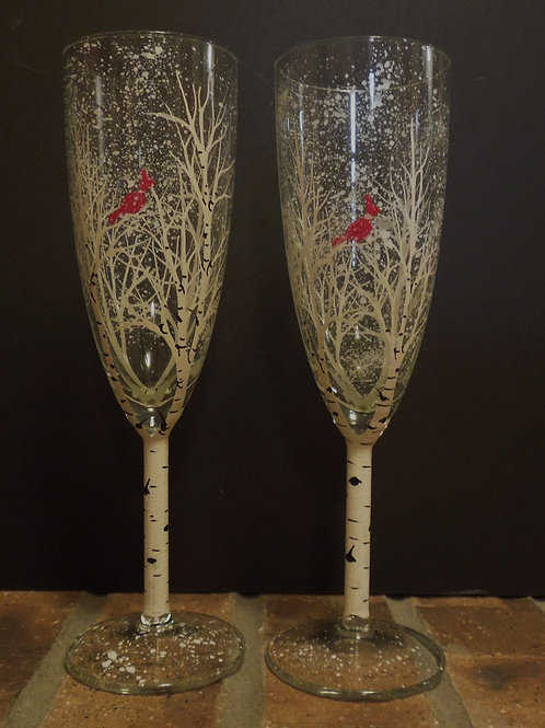 Aspen flute glasses with red bird