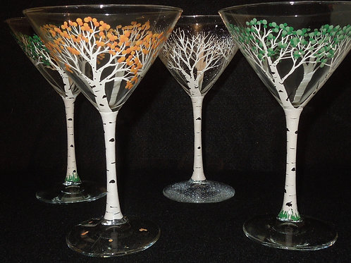 Aspen tree 4 seasons Martini glasses