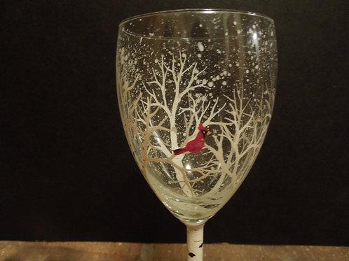 Winter Aspen/Birch Wine Glass with Cardinal/small