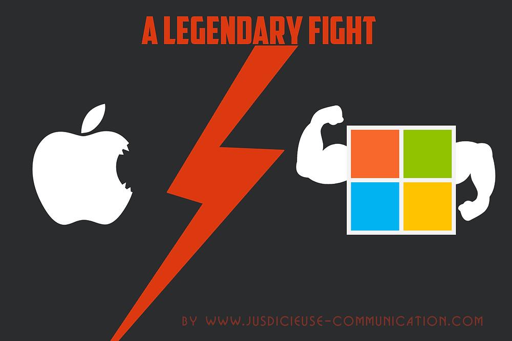 Apple vs Microsoft illustration