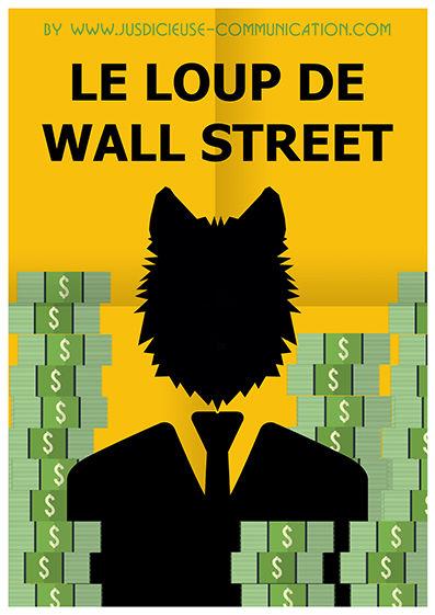 Le Loup de Wall Street Affiche Minimaliste Flat Design par une graphiste d'Angers