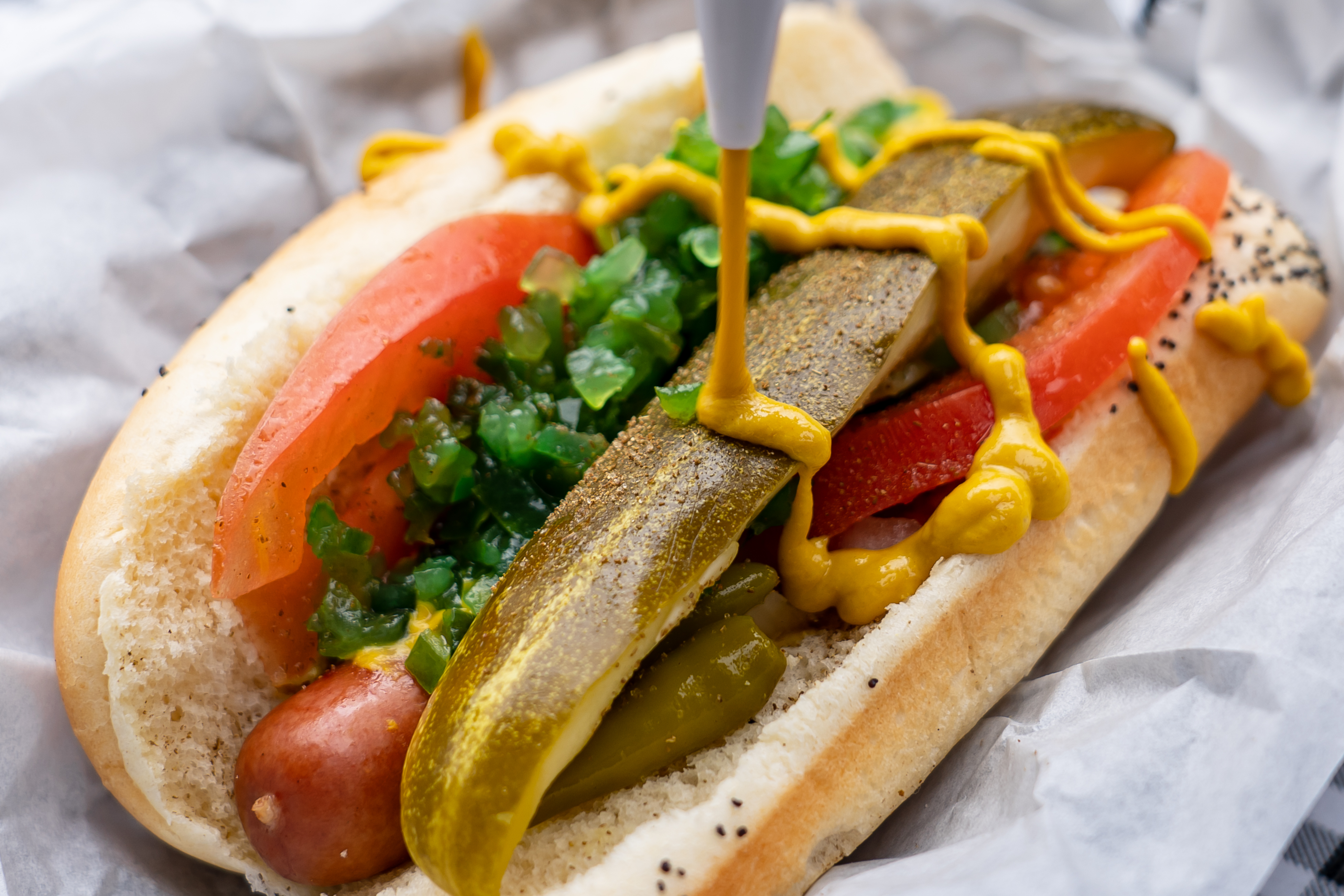 Hot dog with relish, tomato, pickle and mustard