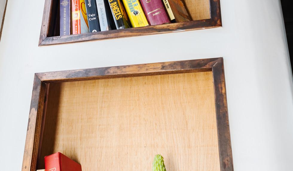 Bookshelf detail inside The Mothership
