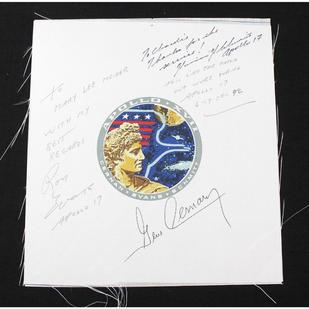 Apollo 17 Crew-Signed Beta Cloth Patch