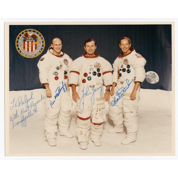 Apollo 16 Crew-Signed NASA Glossy Photo