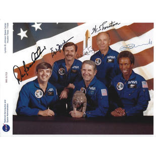 STS-8 Crew-Signed Humorous Glossy Photo
