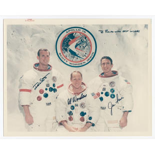 Apollo 15 Crew-Signed NASA Glossy Photo