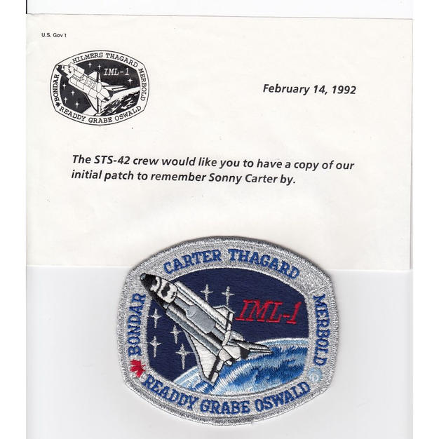 Rare STS-42 Patch With Sonny Carter