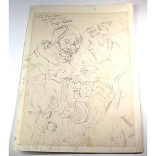 Aldrin Signed Ron Woods Original Sketch