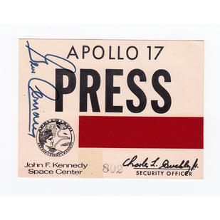Gene Cernan Signed Apollo 17 Press Pass