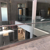 Stainless Steel Handrail on Toughened Glass
