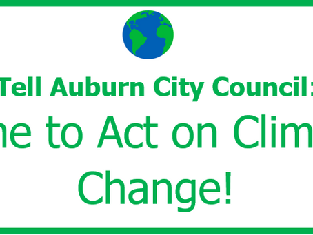 Monday, February 24, 6 pm Tell the Auburn City Council it's Time to Act on Climate Change!