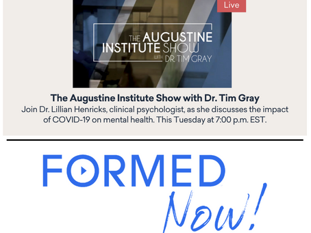 FORMED Now: A discussion on the impacts of Covid-19 on Mental Health (tonight)