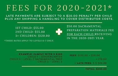 2020-2021 Fee Schedule