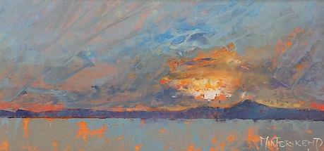 Painting by Minter-Kemp of sunset