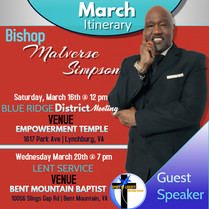 SOLWC- Bishop Itinerary Schedule March 2