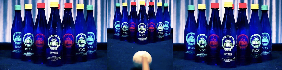 hydro water bottles on pool table