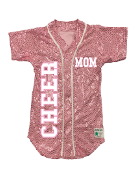 CHEER MOM Sequin Baseball Jersey (19 Colors)