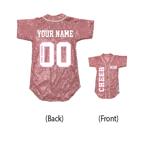 Custom CHEER MOM Sequin Baseball Jersey (19 Colors)
