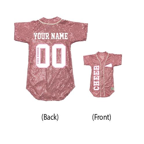 Custom CHEER Sequin Baseball Jersey (19 Colors)