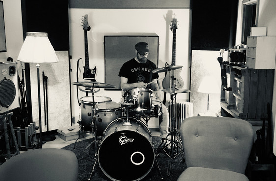 Mark, playing the drums