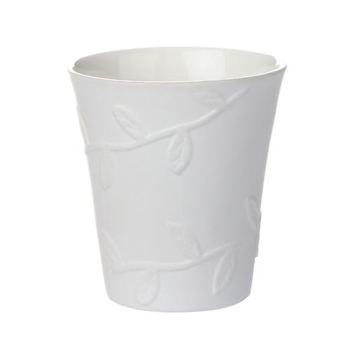 Becher, Bonechina Porzellan, weißes Porzellan, modernes Geschirr, Porzellanwerkstatt Wien,Strukturbecher, manodesign