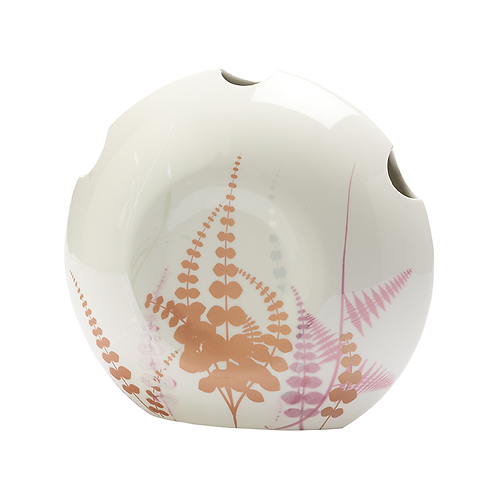 Vase mit Dekor, florales Dekor, Lüsterdekor, weißes Porzellan, Gräserdekor, Porzellanwerkstatt in Wien, Keramik in Wien,