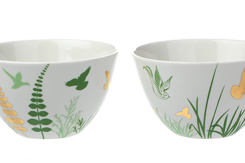 Porzellanschale mit Dekor, Golddekor, florale Motive, Vögel, weißes Porzellan, Keramik in Wien,mano design,