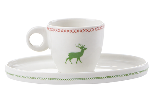 Kaffeetasse,Porzellantasse, weißes Porzellan, alpiner Look, Porzellanwerkstatt Wien, mano design, Hirschgeweih, Landlook