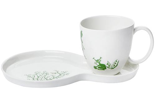 Frühstücksset mit Märchenmotiven, Froschkönig, weißes Porzellan, Porzellanwerkstatt in Wien, mano design,