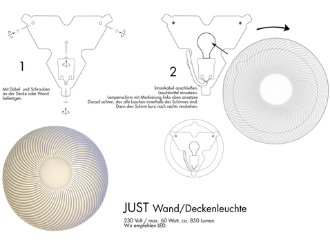 Assembly instructions for wall lamp made of bone china porcelain with groove structure.
