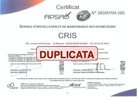 Certificat APSAD CRIS SAS