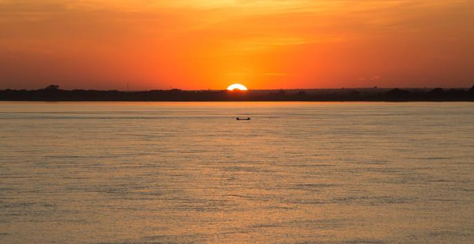 Coucher de soleil sur l'Irrawaddy