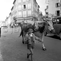 Garçonnet tirant sa vache en ville