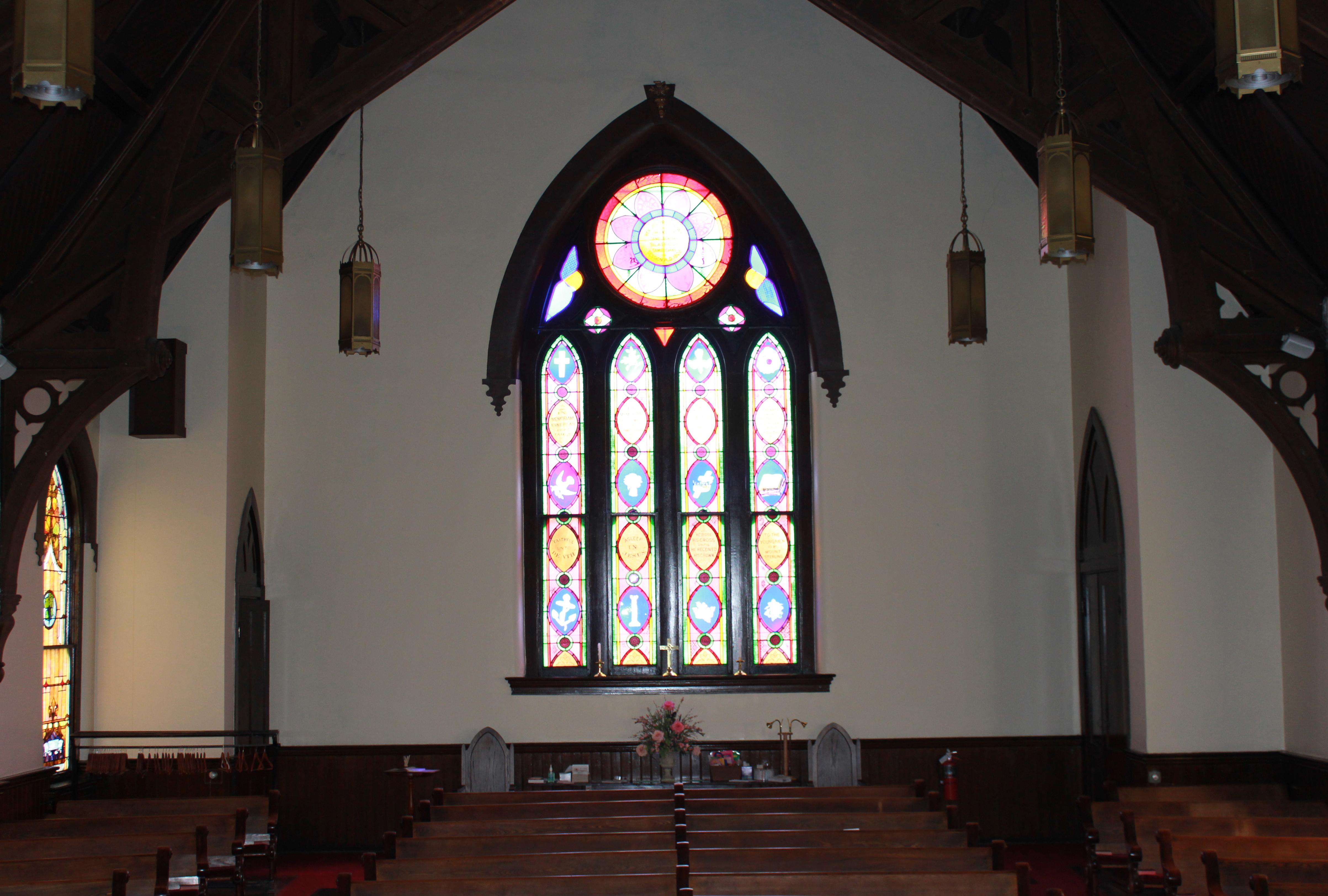 Back of church window