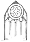 Line drawing of large, stained glass window