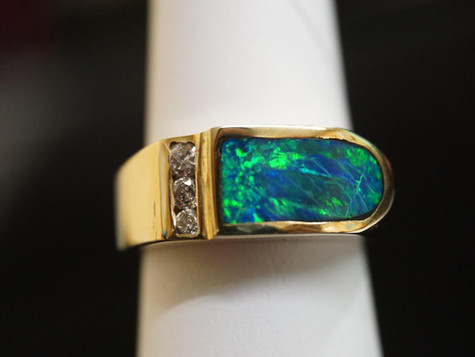 14k Gold with Diamonds and Colored stone